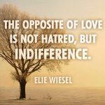 The opposite of love is not hatred, but indifference. - Elie Wiesel